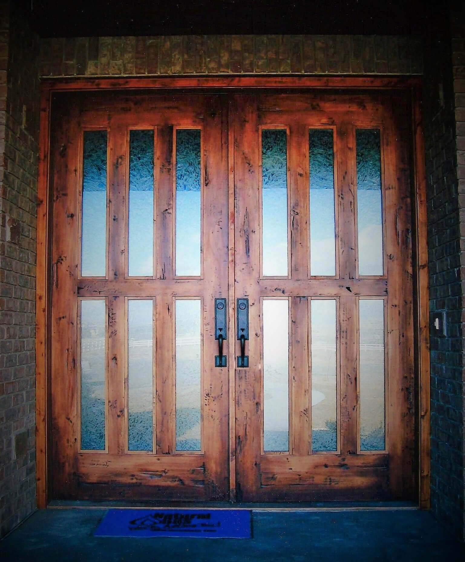 Double Entry door with obscured glass and distressed finish Kimberly Idaho