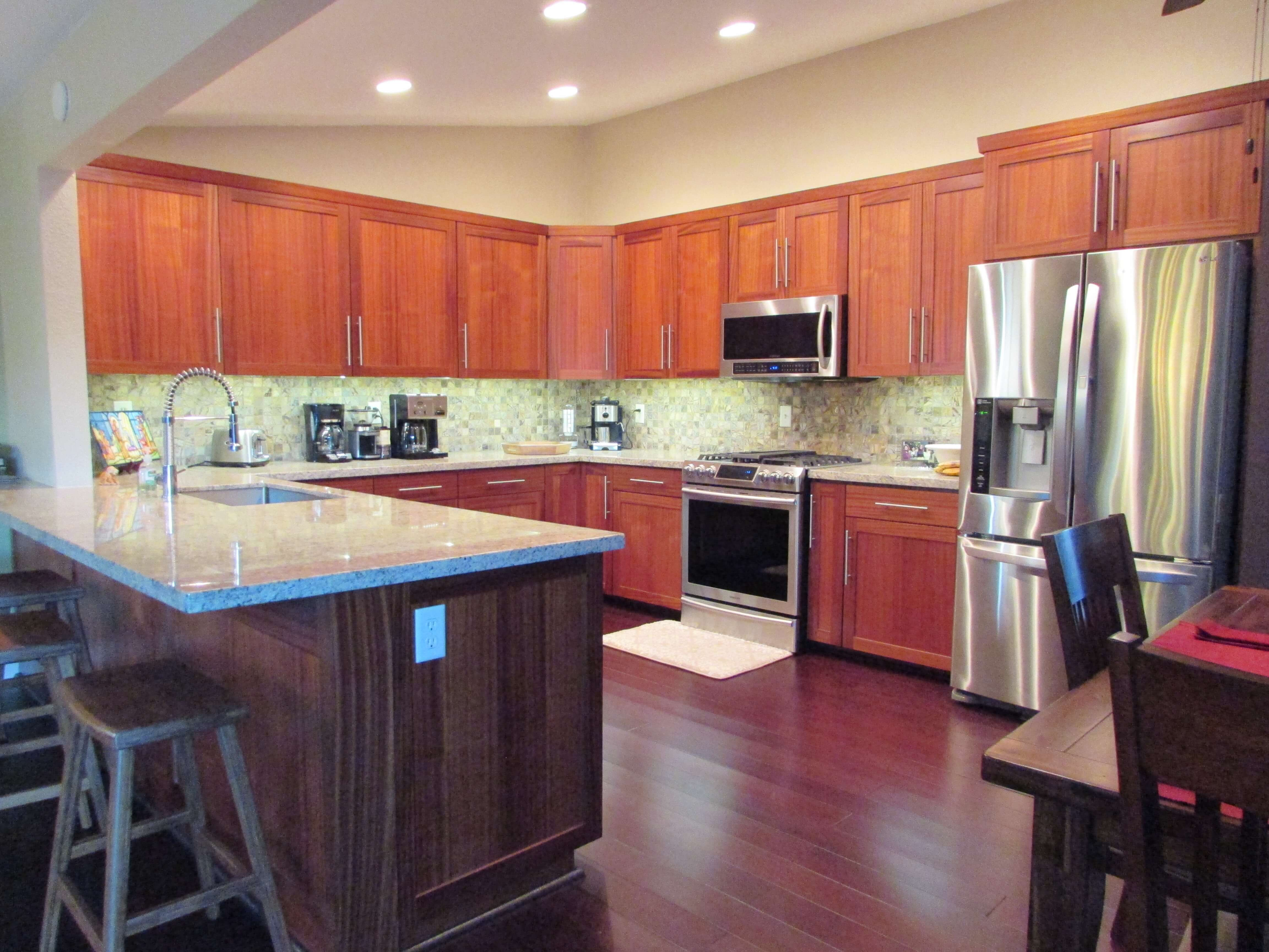 Mahogany shaker cabinets with peninsula bar Southern California